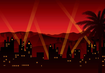 Hollywood Red Light Background Free Vector - vector gratuit #412837
