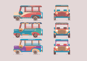 Jeepney Colorful Vector - Free vector #412867