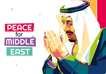 Peace for Middle East - Popart Portrait - vector gratuit #412927