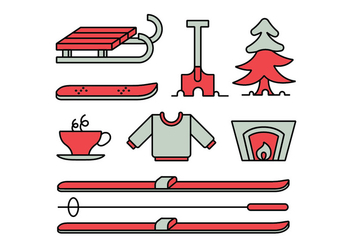 Winter activities icon set - vector gratuit #412977