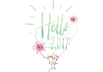 Free Hello 2017 Watercolor Vector - vector gratuit #413267