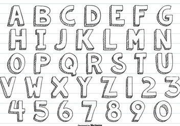 Cute Sketchy Hand Drawn Vector Alphabet - Free vector #413317