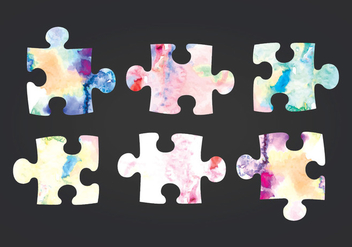 Vector Watercolor Puzzle Pieces - бесплатный vector #413617