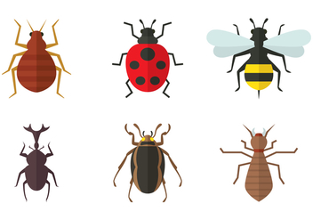 Insect Flat Icons - vector #413687 gratis
