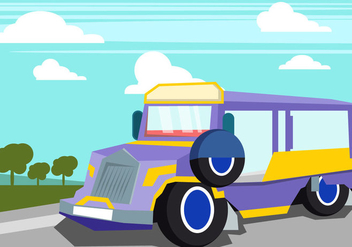 Jeepney In The Summer Time - бесплатный vector #414087