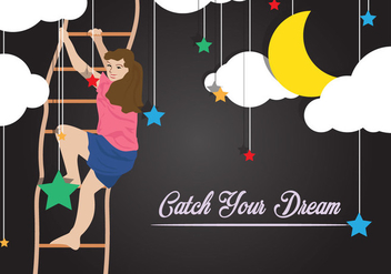 Girl Catching Dreams With Rope Ladder - Free vector #414187