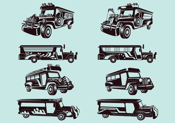 Set Vector Illustration of jeepney - vector gratuit #414277