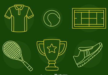 Tennis Line Icons Vector - бесплатный vector #414417