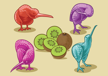 Vector Image of Nice Kiwi Birds and Kiwi Fruits - бесплатный vector #414437