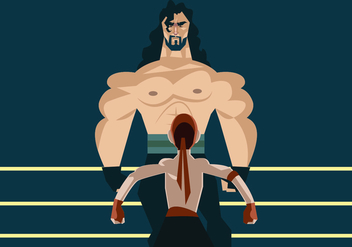 Giant Wrestler Vs Tiny Wrestler Vector - vector gratuit #414737