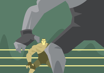 Two Wrestlers Prepare to Fight Vector - vector gratuit #414767
