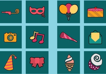 Party Icon Set - vector #414817 gratis