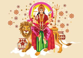 Vector Illustration of Goddess Durga in Subho Bijoya - бесплатный vector #415107