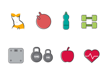Free Slimming and Healthy Icons - vector #415327 gratis