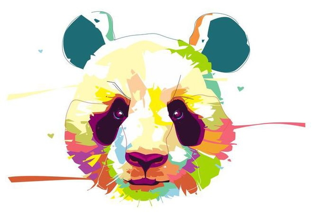 Panda - Animal Life - Popart Portrait - Free vector #415417