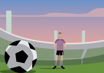 Football Player Standing In Football Ground Vector - vector gratuit #415797