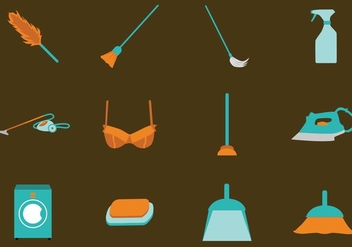 French Maid Tools Icon - vector gratuit #416047