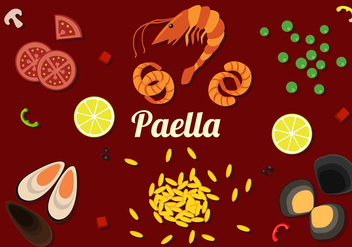 Paella Ingredients Free Vector - Kostenloses vector #416207