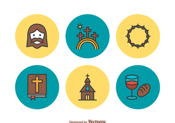 Free Holy Week Flat Line Vector Icons - Free vector #416227