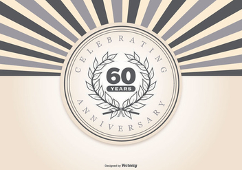 Retro Style 60th Anniversary Illustration - бесплатный vector #416317