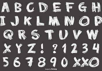 Messy Chalk Style Alphabet - Free vector #416387