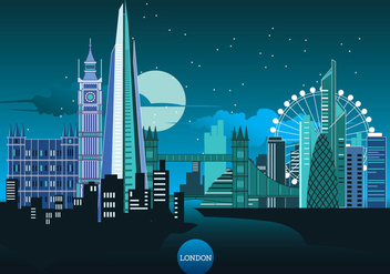 Vector Illustration The Shard and The London Skyline - vector #416397 gratis