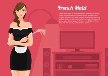 French Maid Cartoon Vector Free - Free vector #416497