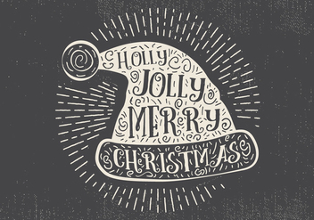 Free Vintage Hand Drawn Christmas Hat With Lettering - vector gratuit #416687