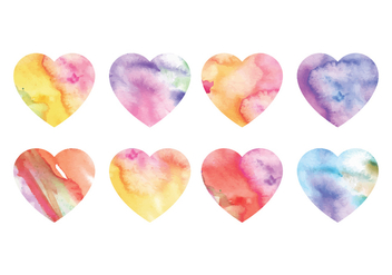 Vector Watercolor Hearts - бесплатный vector #416857