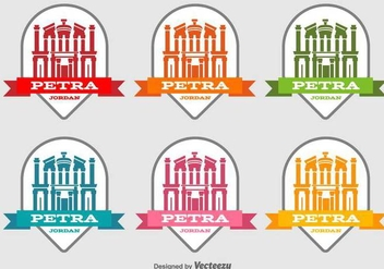 Petra Jordan Building Vector Labels - бесплатный vector #416907