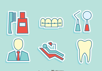 Dentist Element Icons Vector - бесплатный vector #417337