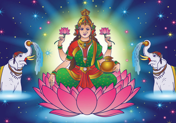 Hindu Lakshmi Goddess Of Wealth - Free vector #417467
