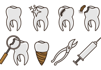 Set Of Dentista Icons - vector #417537 gratis