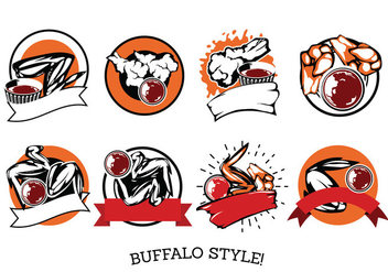 Vector Label Buffalo Wings with Sauce - vector gratuit #417587