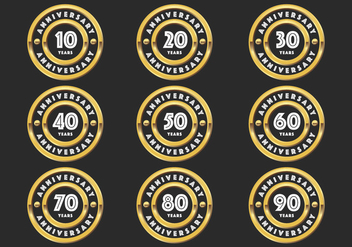 Gold anniversary badges - vector #417647 gratis