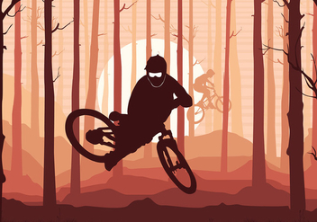 Bike Trail Silhouette Free Vector - Free vector #417687