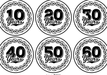 Hand Drawn Style Anniversary Label Collection - бесплатный vector #417787