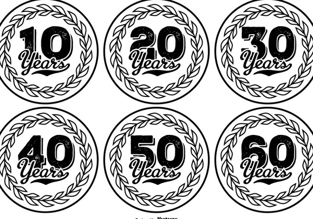 Hand Drawn Style Anniversary Label Collection - vector #417787 gratis