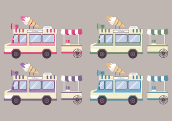 Vector Colorful Ice Cream Trucks - vector gratuit #417837