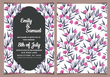 Vector Pink Floral Wedding Invitation - бесплатный vector #417847