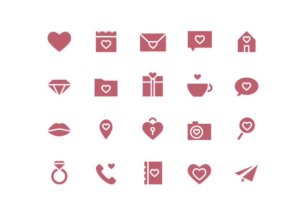 Vector Simple Valentine's Day Icons - Kostenloses vector #417897