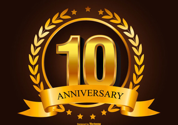 Golden 10th Anniversary Illustration - Free vector #418057