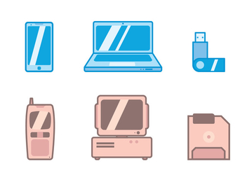 Old Vs New Tecnologia icon - vector gratuit #418237