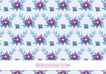 Free Vector Watercolor Pattern With Floral Theme - vector gratuit #418497