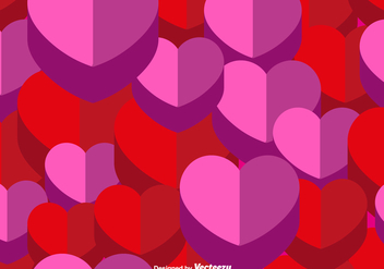 Vector 3d Heart Seamless Pattern - Free vector #418537