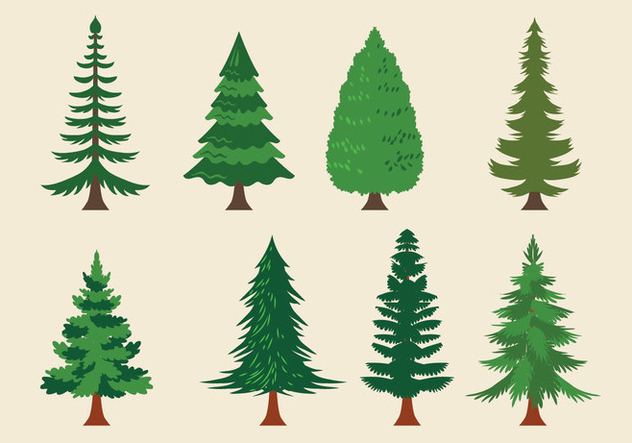 Vector Collection of Christmas Trees or Sapin - Free vector #418627