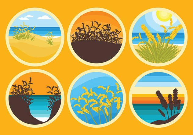 Free Sea Oats Icons Vector - Free vector #418707