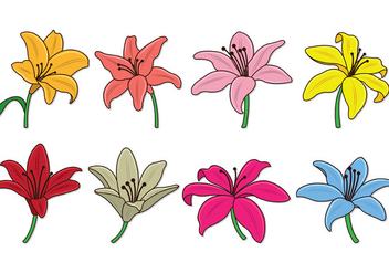 Set Of Easter Lily Vectors - vector gratuit #418807