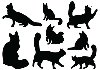 Cat Silhouette Vectors - бесплатный vector #418837