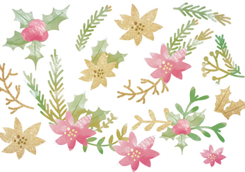 Vector Glitter Winter Floral Objects - vector gratuit #418927